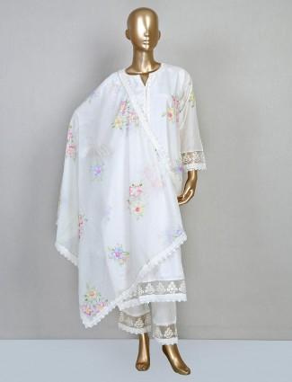 Cream printed punjabi salwar suit in cotton silk