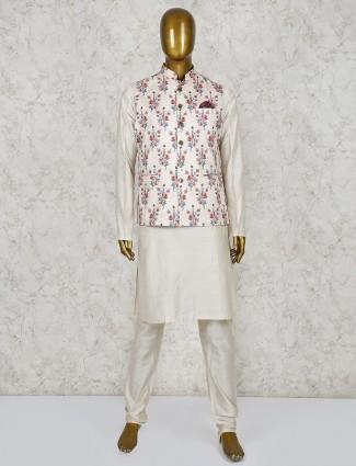 Cream printed silk fabric party waistcoat set