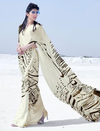Cream printed style festive wear satin saree