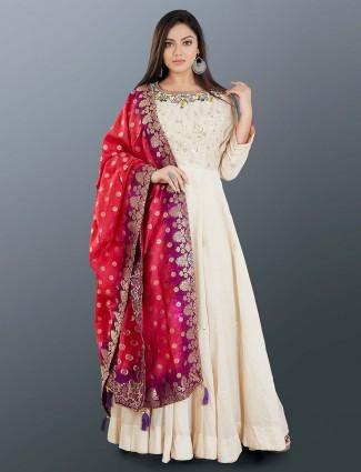 Cream raw silk anarkali suit for women