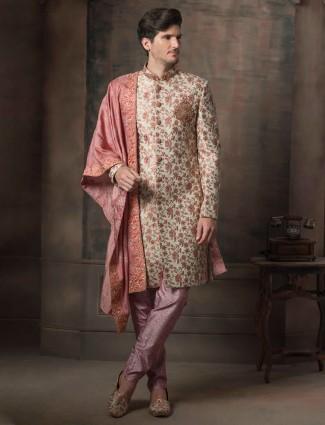 Cream raw silk fabric wedding function indo western