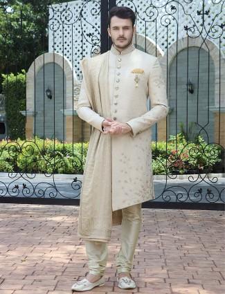 Cream raw silk solid wedding wear indo western