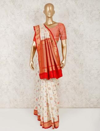 Cream semi silk beautiful saree