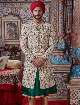 Cream silk double layer sherwani for groom