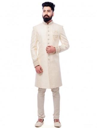 Cream silk festive wear royal indo western