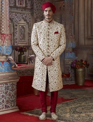 Cream silk mens sherwani for groom wear