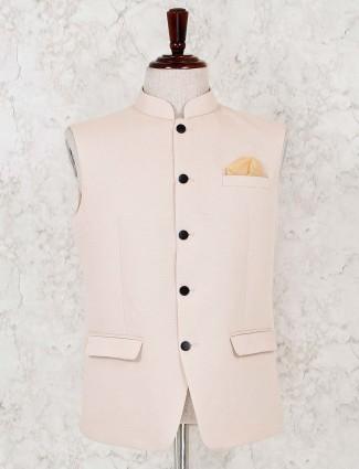 Cream solid terry rayon waistcoat