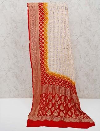 Cream wedding printed bandhej saree