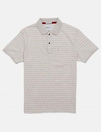 Crossknit beige stripe patch pocket t-shirt