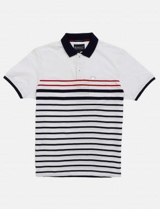 Crossknit half sleeves stripe white t-shirt