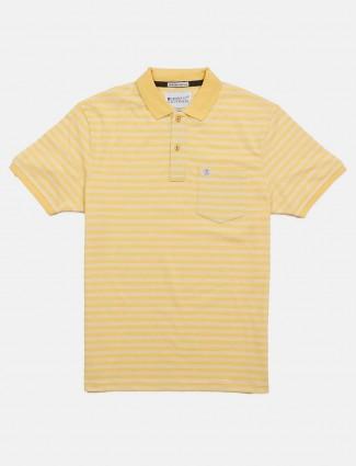 Crossknit stripe yellow slim fit t-shirt