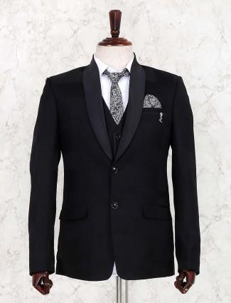 Dark blue party wear three piece suit