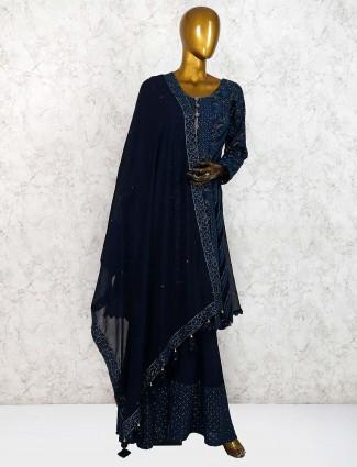 Dark blue punjabi sharara suit in georgette fabric