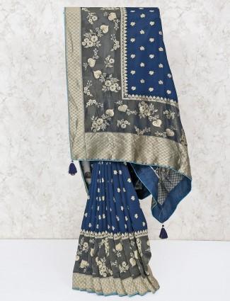 Dark blue silk fabric saree