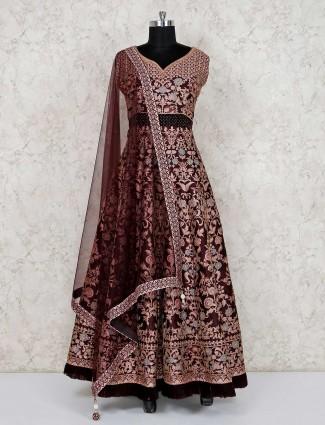 Dark brown wedding anarkali salwar suit in raw silk