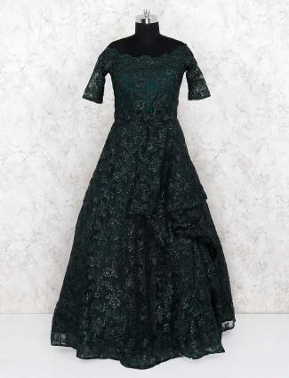 Dark green emerald green party wear gown