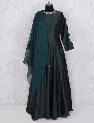 Dark green raw silk fabric floor length anarkali salwar suit
