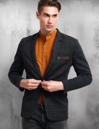 Dark grey checks terry rayon blazer