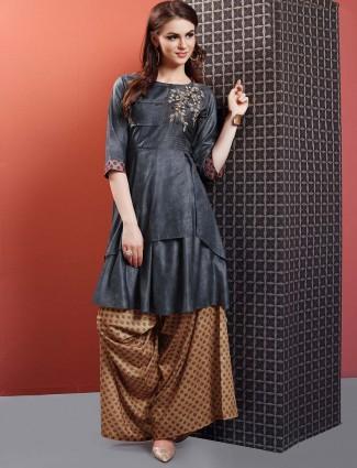 Dark grey designer cotton punjabi palazzo suit
