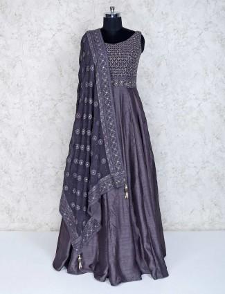 Dark grey floor length raw silk anarkali suit