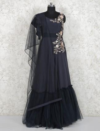Dark grey floor length satin gown