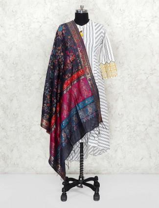 Dark grey hue dupatta in pashmina silk