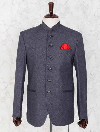 Dark grey hued printed party wear jodhpuri blazer