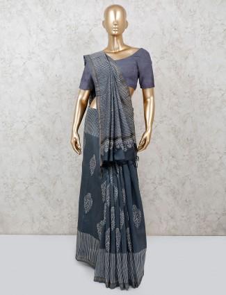 Dark grey pretty saree in cotton