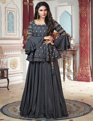 Dark grey raw silk fabric party wear lehenga choli