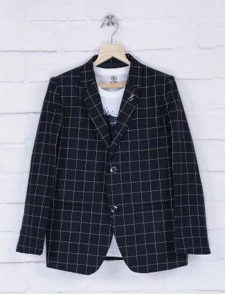 Dark navy color checks pattern blazer