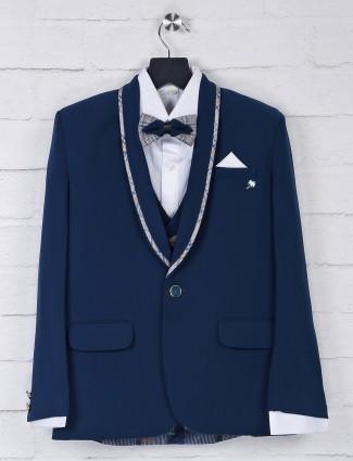Dark navy color solid terry rayon tuxedo suit