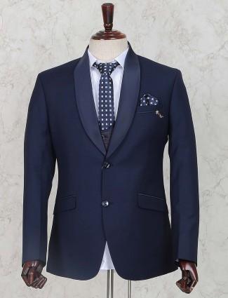 Dark navy hued terry rayon fabric coat suit