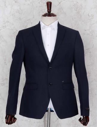 Dark navy solid terry rayon fabric blazer