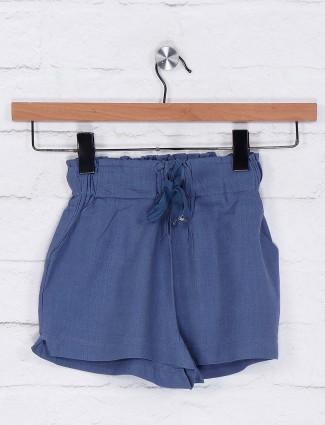 Deal blue color casual cotton shorts