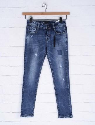 Deal blue color washed denim regular jeans