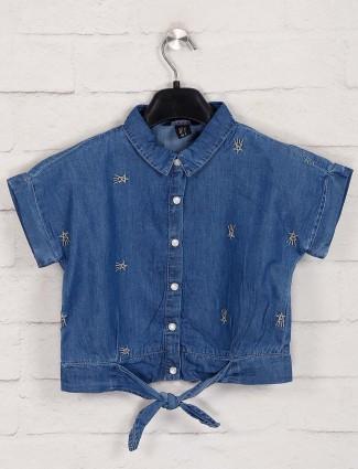 Deal casual blue denim top