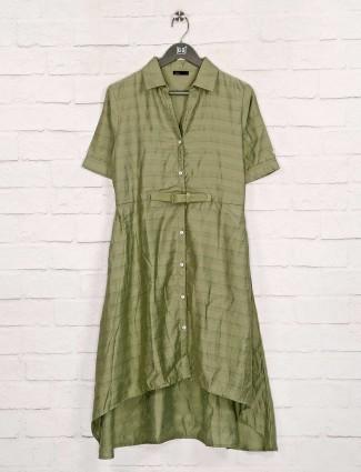 Deal cotton silk green long dress