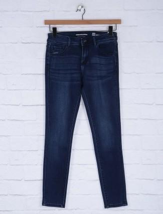 Deal navy blue whiskered effect regular jeans