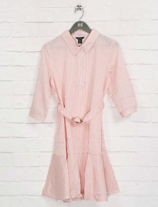 Deal pink stripe design cotton dress