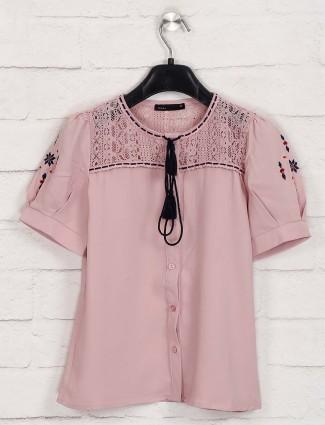 Deal round neck peach cotton top