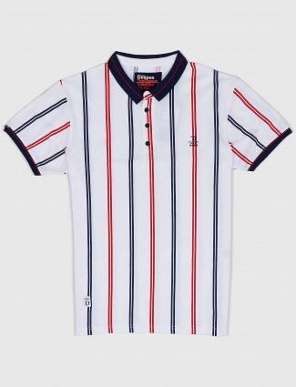 Deepee casual wear white stripe t-shirt