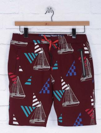 Deepee maroon printed casual shorts