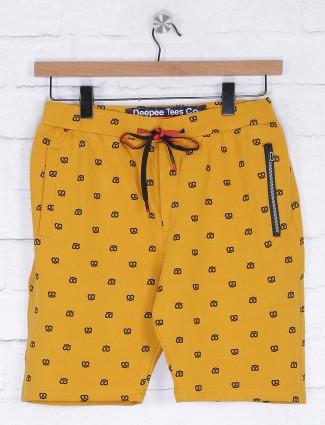 Deepee mustard yellow printed shorts