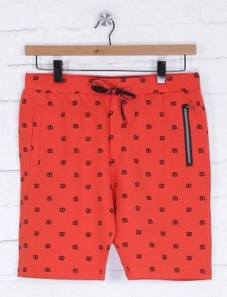 Deepee orange printed mens shorts