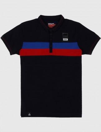 Deepee solid black slim fit t-shirt