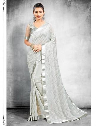 Delightful grey georgette party wear saree