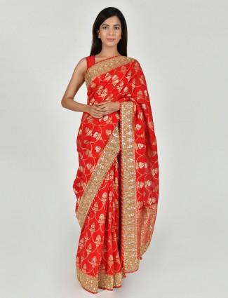 Designer art khadi silk saree in red colour