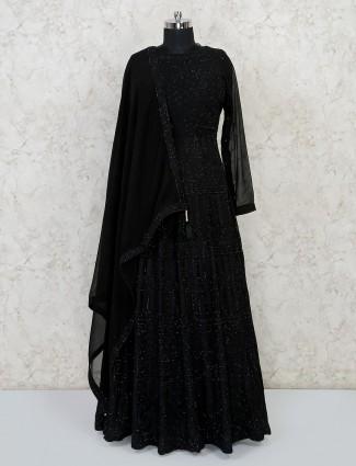 Designer black georgette thread work gown