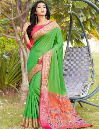 Designer green banarasi silk saree for wedding