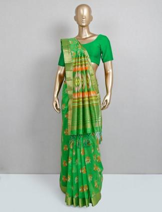 Designer green cotton silk saree for festive